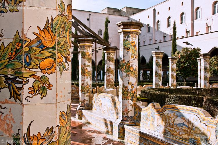 Majolica tiles of the Cloister of the Clarisses, in the Santa Chiara religious complex - Naples, Campania - December 2010