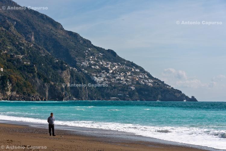 Sand beach near Positano - Italy, February 2010