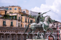 Statue of Ferdinand I of Bourbon in Piazza del Plebiscito - Napoli, Campania - Italy, June 2010