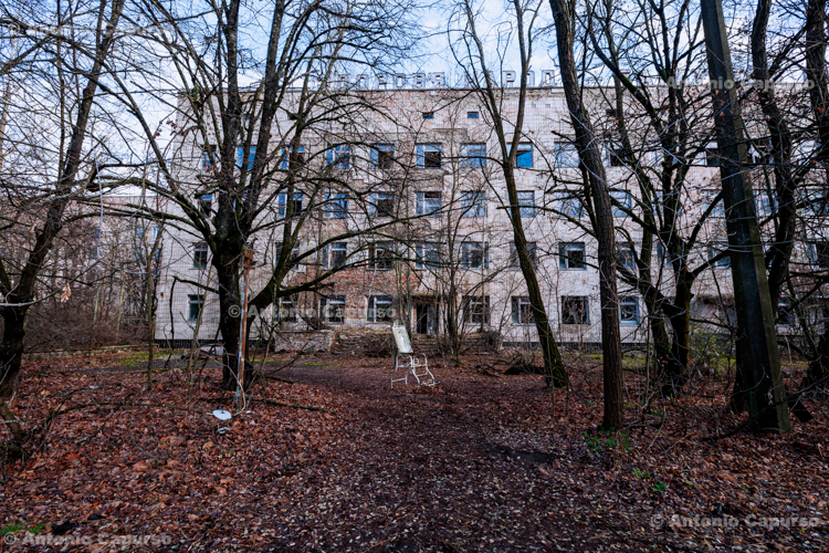 Outside an abandoned hospital, Prypiat, Chernobyl area - Ukraine, 2019
