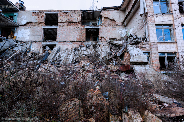 A building crumbled after an earthquake - Prypiat, Chernobyl area - Ukraine, 2019