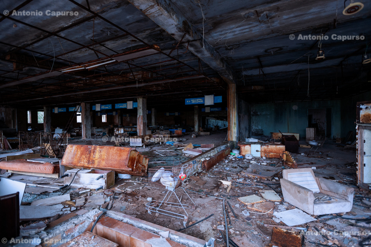 Abandoned department store in the ghost town of Prypiat, Chernobyl area - Ukraine, 2019