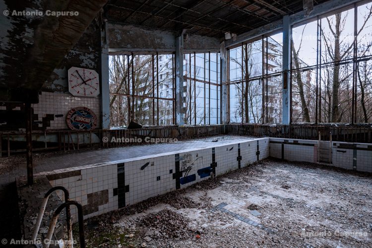 What remains of a swimming pool - Prypiat, Chernobyl area - Ukraine, 2019
