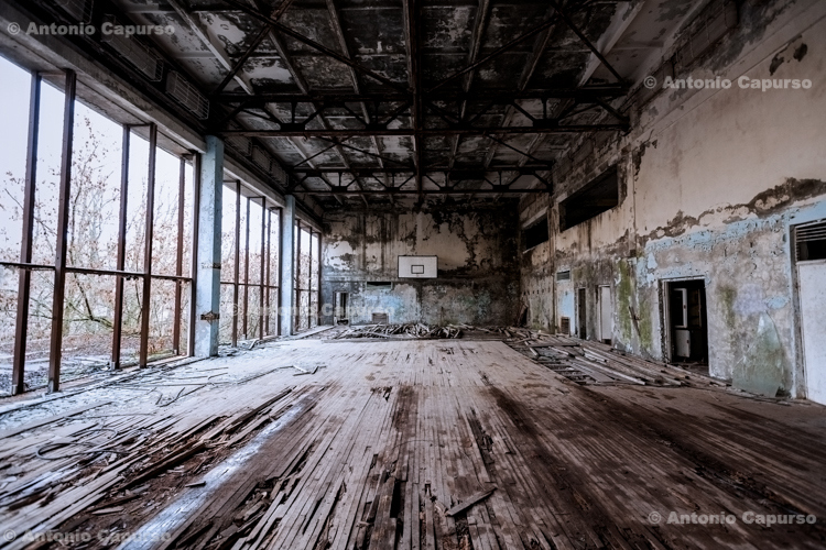 Abandoned gym in the ghost town of Prypiat, Chernobyl area - Ukraine, 2019