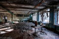 Ruined building inside in the ghost town of Prypiat, Chernobyl area - Ukraine, 2019