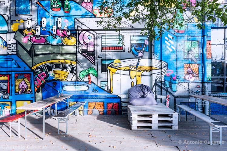 Graffiti Bar in Kreuzberg district in Berlin - Germany, 2015