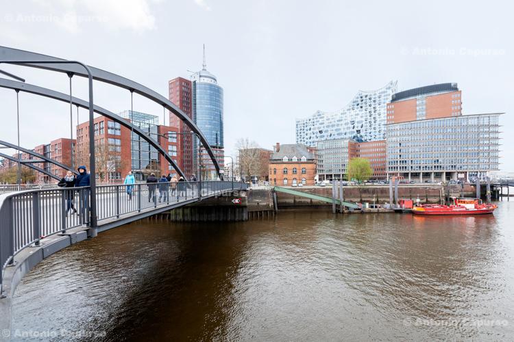HafenCity district (with the Elbphilharmonie) in Hamburg - Germany, 2019