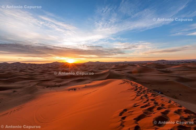 Sunrise in the Sahara desert near Merzouga, Morocco - 2015