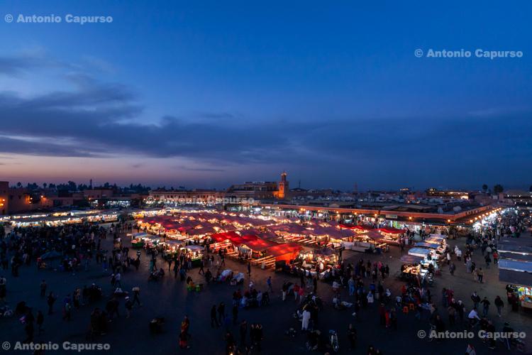 Jemaa el-Fnaa Square at dusk - Marrakech, Morocco - 2015