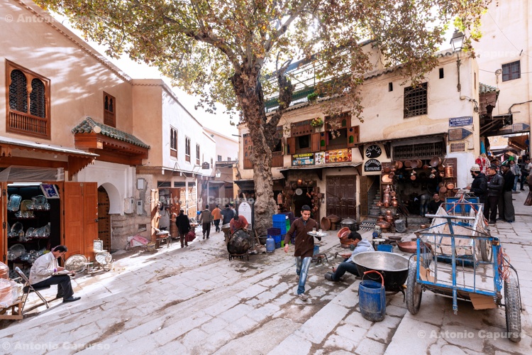 The plaza of Place Seffarine, in the Medina - Fes, Morocco - 2015