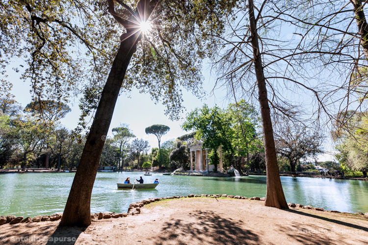 The pond of Villa Borghese in Rome - Italy, 2017
