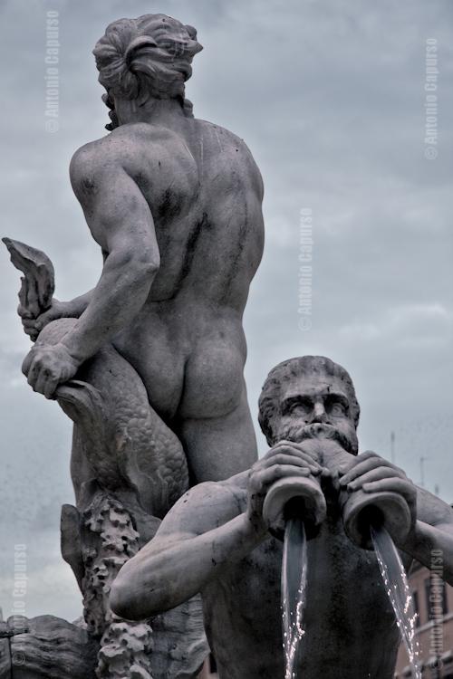 Fontana del Moro presso Piazza Navona - Moro e Tritone