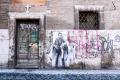 Urban graffiti depicting writer and intellectual Pier Paolo Pasolini - Rome - Italy, 2017