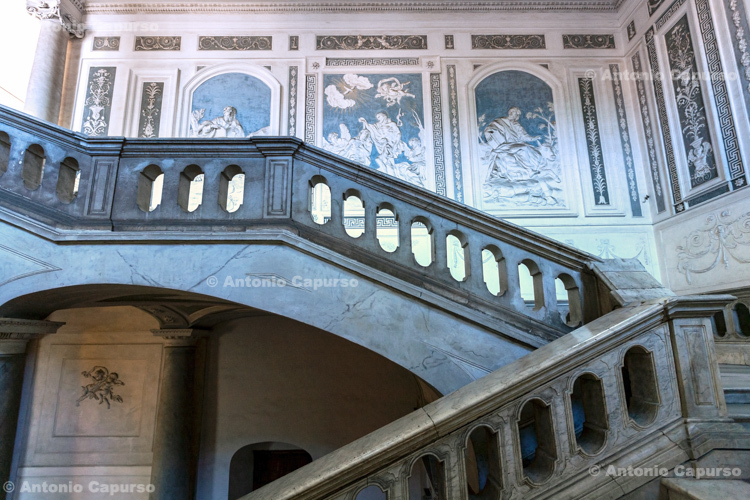 Staircase inside the Monastery of San Nicolò l'Arena in Catania, Sicily - Italy, 2017