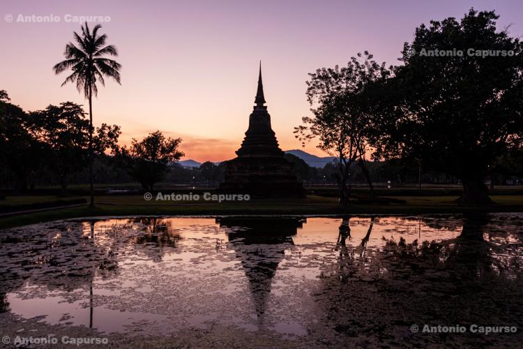 Ancient ruins at dusk in Ayutthaya near Bangkok - Thailand, 2013