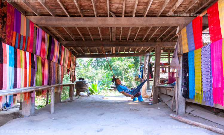 A textile worker in a Karen village near Chiang Mai - Thailand, 2013